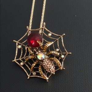 Betsey Johnson spider in the web necklace